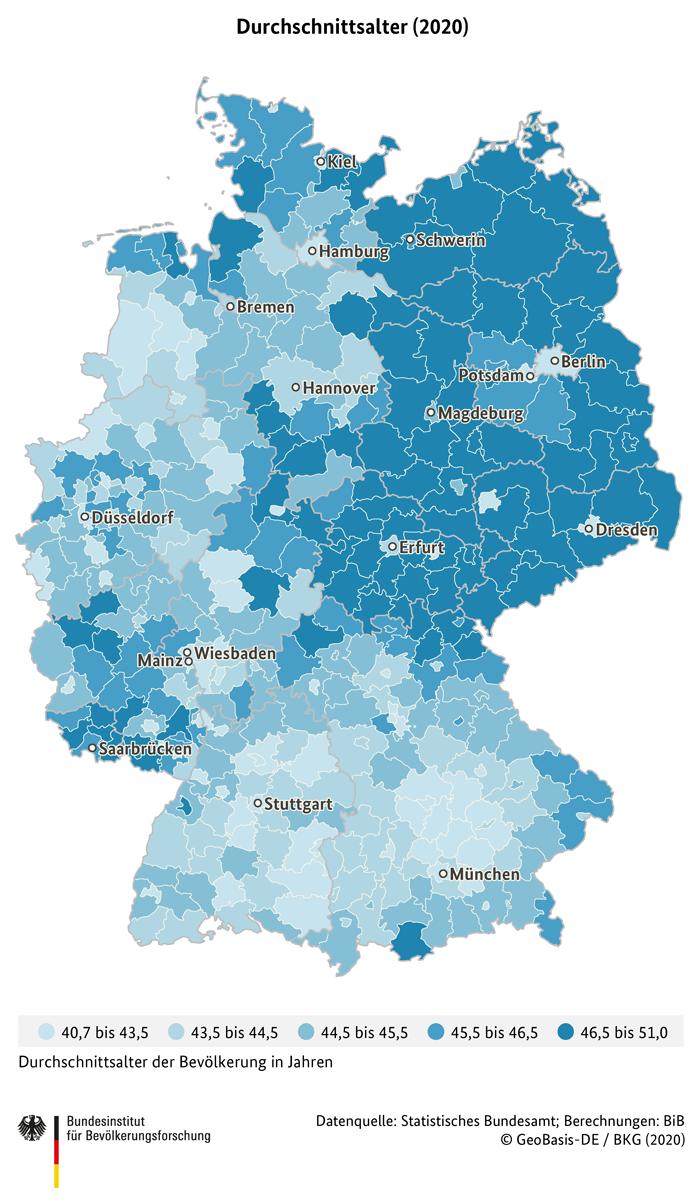 Durchschnittsalter nach Landkreisen